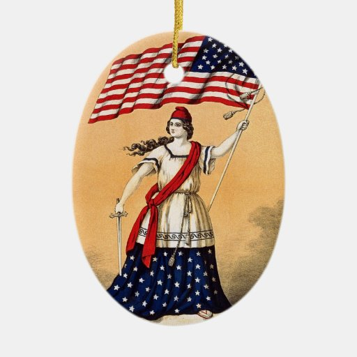 Lady Liberty with American Flag Double-Sided Oval Ceramic Christmas Ornament