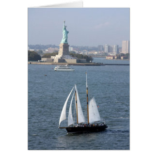 Lady Liberty with sailing vessel Card