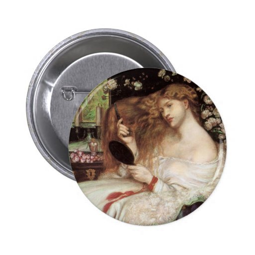 Lady Lilith by Rossetti, Vintage Victorian Portait Button