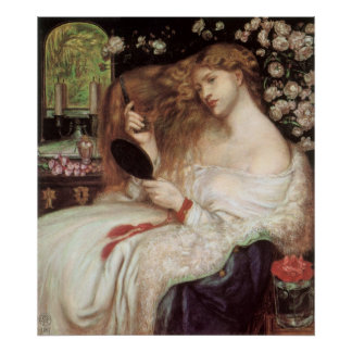 Lady Lilith by Rossetti, Vintage Victorian Portait Posters