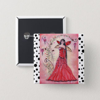 Lady love bug valentine fairy button pin by Renee