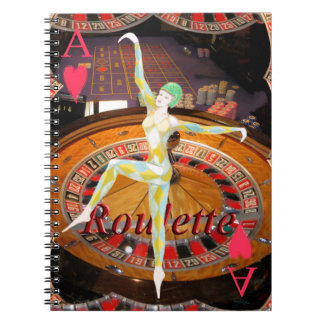 Lady Luck , casino roulette cards gaming montage Notebook