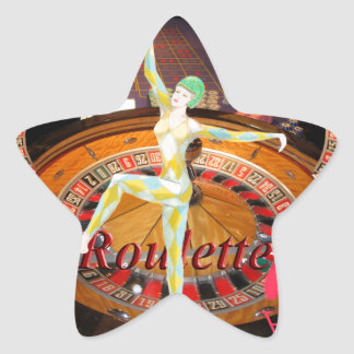 Lady Luck , casino roulette cards gaming montage Star Sticker