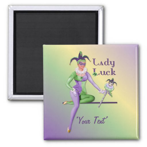 Lady Luck Harlequin 2 Inch Square Magnet