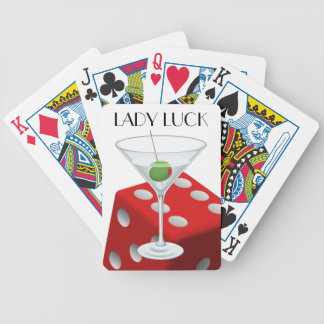 Lady Luck Martini Cocktail Red Dice Las Vegas Bicycle Playing Cards