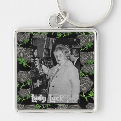 Lady Luck Silver-Colored Square Keychain