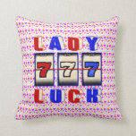 Lady Luck Slots Throw Pillow