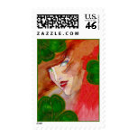 LADY LUCK STAMP ~ CELTIC GODDESS IN CLOVER FORTUNE