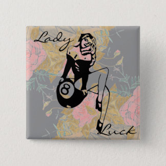 Lady Luck With Pink Roses Pinback Button