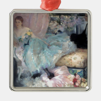 Lady Man Courtship painting Christmas Ornament