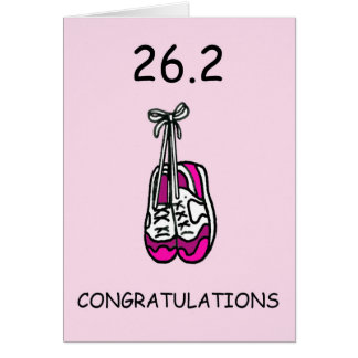 Lady marathon runner, 26.2 congratulations. card