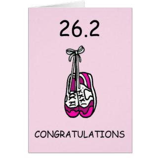 Lady marathon runner, 26.2 congratulations. card