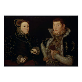 Lady Mary Nevill and her son Gregory Fiennes Poster