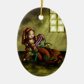 Lady Merewalds Pets Double-Sided Oval Ceramic Christmas Ornament