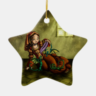 Lady Merewalds Pets Double-Sided Star Ceramic Christmas Ornament