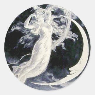 Lady Moon Stars Classic Round Sticker