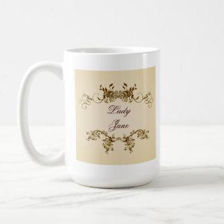 Lady Name Elegant Royal Beige Script Cup Coffee Mug
