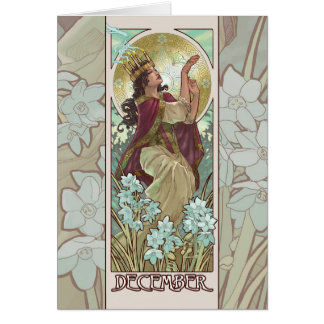 Lady of December Art Nouveau Greeting Card