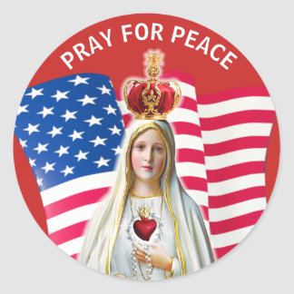 Lady of Fatima USA FLAG Blessed Mother Classic Round Sticker