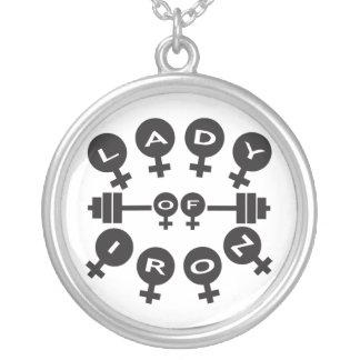 Lady of Iron Round Pendant Necklace