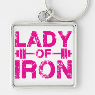 Lady of Iron Silver-Colored Square Keychain