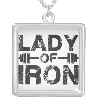 Lady of Iron Square Pendant Necklace