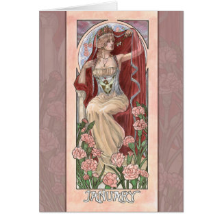 Lady of January Art Nouveau Greeting Card
