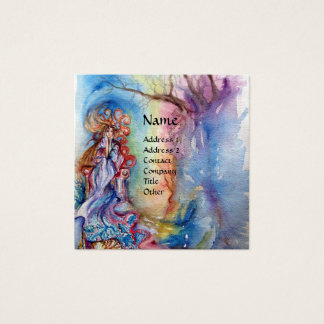 LADY OF LAKE , Magic and Mystery ,Blue Fantasy Square Business Card