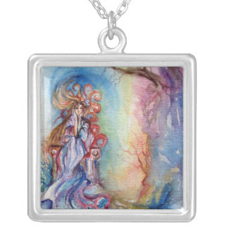 LADY OF LAKE  / Magic and Mystery Square Pendant Necklace