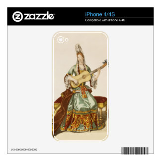 Lady of Quality Playing the Guitar fashion plate Decals For The iPhone 4S