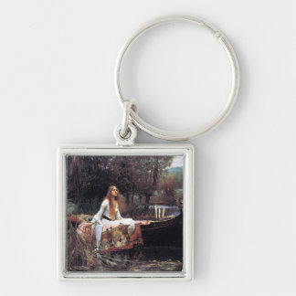 Lady of Shallot antique art painting Silver-Colored Square Keychain