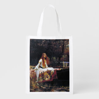 Lady Of Shallot on Boat JW Waterhouse Fine Art Reusable Grocery Bag