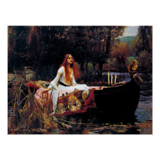Lady Of Shallot on Boat Waterhouse Art Poster