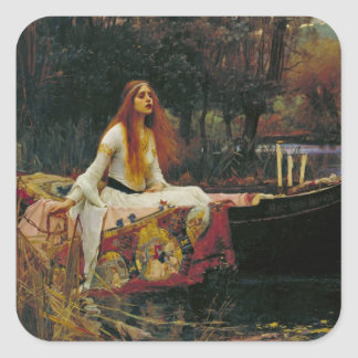 Lady of Shalott in Her Boat Square Sticker