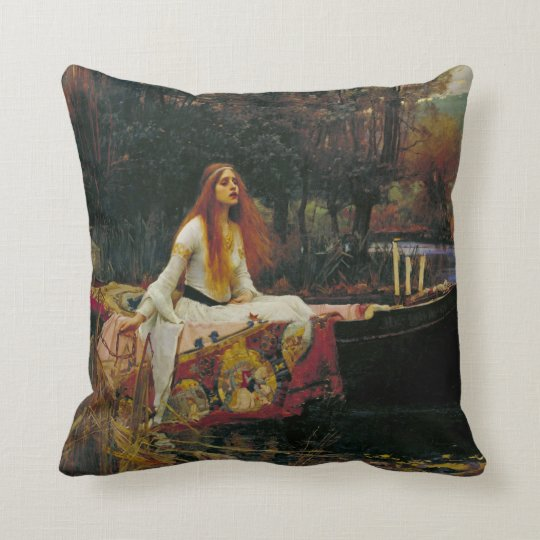 Lady of Shalott in Her Boat Throw Pillow