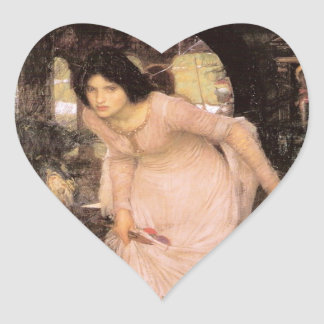 Lady of Shalott Looking into a Mirror Heart Sticker