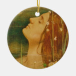 Lady of Shalott Double-Sided Ceramic Round Christmas Ornament