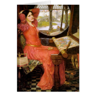 Lady of Shalott  Sitting at Her Desk Greeting Cards