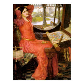 Lady of Shalott  Sitting at Her Desk Postcard
