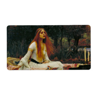 Lady of Shalott with Flowing Hair Shipping Label