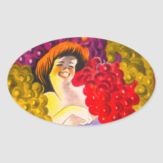 Lady of the Grapes Oval Stickers