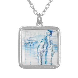 Lady of the Lake Square Pendant Necklace