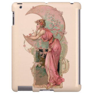 LADY OF THE MOON WITH FLOWERS IN PINK