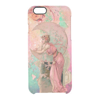 LADY OF THE MOON WITH FLOWERS IN PINK CLEAR iPhone 6/6S CASE