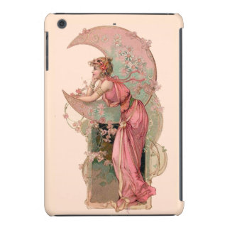 LADY OF THE MOON WITH FLOWERS IN PINK iPad MINI COVER