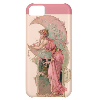 LADY OF THE MOON WITH FLOWERS IN PINK iPhone 5C COVER
