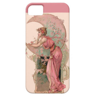 LADY OF THE MOON WITH FLOWERS IN PINK iPhone SE/5/5s CASE