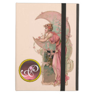 LADY OF THE MOON WITH FLOWERS IN PINK MONOGRAM CASE FOR iPad AIR