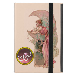 LADY OF THE MOON WITH FLOWERS IN PINK MONOGRAM CASES FOR iPad MINI