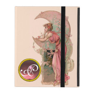 LADY OF THE MOON WITH FLOWERS IN PINK MONOGRAM iPad COVER